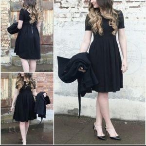 LuLaRoe Amelia Solid Black Noir Dress Unicorn